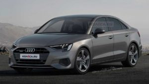 Эскиз Audi A3 Sedan на основе шпионских снимков